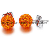 Orecchini d'acciaio chirurgici della sfera di cristallo del cristallo 6mm 8mm 10mm dei monili