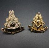 O Lapel maçónico feito sob encomenda fixa Brooches do pedreiro do emblema da tecla do ouro do Freemason