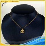 Colgante unisex cristalino plateado oro del collar del acero inoxidable del cráneo de la voga