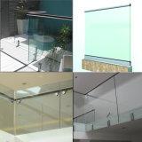 バルコニーのガラス柵の栓のガラスパネルの床サポート円形の栓