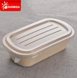 Trigo fibra de paja caja del alimento de la pulpa con tapa de plástico