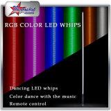 Fruste ottiche della bandierina LED di sicurezza della fibra LED di alto potere, frusta verde arancione blu rossa 6FT di bianco LED di controllo 4FT 5FT di RGB Bluetooth per ATV UTV