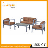 Insieme esterno domestico del sofà del bracciolo di arte del panno della lega di alluminio della mobilia del patio del giardino