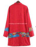 Rote Frauen-chinesische Art-Leinenkleid