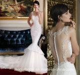 Платья Lb2018 Tulle мантий венчания Mermaid шнурка безрукавный Bridal