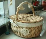 Самомоднейшая корзина пикника круглой формы пустая Wicker с милой подкладкой