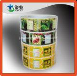 Escrituras de la etiqueta coloridas del zumo de frutas