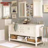 Белая стена повиснула деревянный шкаф ванной комнаты с зеркалом (GSP9-002)