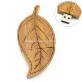 Привод вспышки USB USB Pendrive формы листьев ручки USB деревянный
