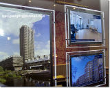 Fotograma póster de cristal caja de luz LED delgado de agente inmobiliario cartelera publicitaria