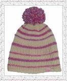 縞パターン(1-3474)を持つFleece Knitted Beanie Hat女性