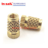 Inserção serrilhada da em-Vela do fabricante do prendedor de China diamante exterior curto de bronze para plásticos
