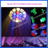 19PCS LED zoom del ojo grande * 15W luz principal móvil