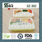 Recipiente de comida plástica de três compartimentos Take Away