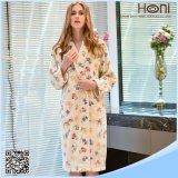 Peignoir de kimono d'ouatine estampé par coton mou de femmes