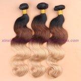 ブロンドの織り方の束の2、3か4束が付いているインドのOmbreの人間の毛髪3の調子のOmbreの毛ボディ波