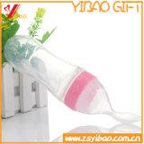 Nahrungsmittelgrad-Silikon-führende Flasche mit Löffel für führendes Baby (XY-SFB-001)