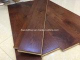 広い板のコーヒーカラーカシの純木のフロアーリング
