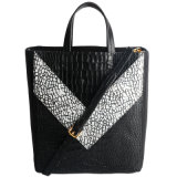 Borsa bollata di Crocodie della borsa del sacchetto della donna del cuoio genuino