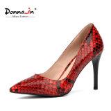 (Donna-в) шпильки женщин пальца ноги кожи верхнего слоя картины питона остроконечные