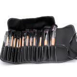 12PCS Caso del maquillaje de cepillo del maquillaje Kit de Brown de la manera Herramientas cosméticas manija de madera, sombra de ojos en polvo cepillos de labio