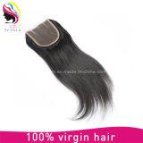 Fechamento reto brasileiro do laço 4*4 do cabelo humano do Virgin de Remy