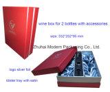 Boîte de papier de empaquetage à vin fait sur commande pour 2 bouteilles avec des sacs à main