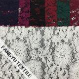 Tela de nylon do laço do algodão grande da flor para o vestido