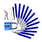 Blaues transparentes Praxis-Vorhängeschloß mit Segeltuch-Beutel 15PCS Lockpicking bearbeitet blauen Silikon-Kasten (kombiniertes 6-3)