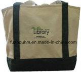 黒いキャンバスのトートバックの綿のキャンバス袋のショッピング・バッグ