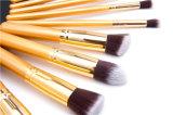 La maneta de madera privada del conjunto de cepillo de Makeuo de la escritura de la etiqueta de los cosméticos 10PCS modifica el cepillo del maquillaje para requisitos particulares