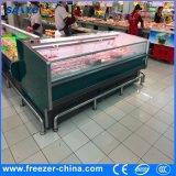 congelador combinado congelado curvado 2100mm do console da porta caixa de vidro