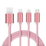 3 en 1 cable aislado nilón de la carga y de datos del USB para Iphohne, Samsung, tipo móvil de C
