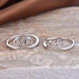 Ringen van het Paar van de Vorm van de kromme de Zilveren