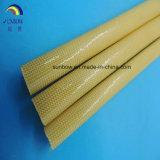 Fray poliuretano resistente al cristal revestida fibra tejida Sleeving10.0mm ámbar
