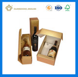 Rectángulo de regalo de papel de la botella de Champán con la pieza inserta cortada con tintas (rectángulo de empaquetado de la botella de vino)