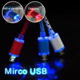 Всеобщий видимый цветастый кабель данным по USB СИД Retractable для iPhone Samsung HTC