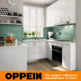 Piccolo armadio da cucina bianco a forma di U moderno della lacca (OP16-L28)