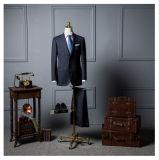 卸し売り完全なウールの高品質のハンドメイドの黒はメンズスーツを予約した
