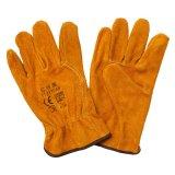 Guantes protectores del programa piloto de la mano de los guantes del trabajo industrial del cuero partido de la vaca del pulgar del ala