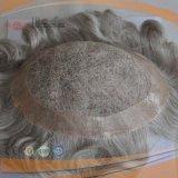 Gris todo el Toupee atado mano completa del Hairpiece de la peluca del Mens del borde de la PU del pelo humano