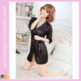 Fashion Women Sexy Lingerie Satin Robe Lace Pink Intimate Sleepwear Robe Night Gown Robe de nuit