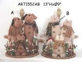 Presente preguiçoso baseado de madeira da família do gato e de cão, decoração 2asst-Christmas