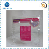 PVC衣服および下着のポリ袋、PVCホック/ハンガーが付いている装飾的なパッキング袋およびボタン(JPplastic004)