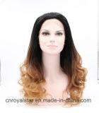 Pelo del frente del cordón del pelo de la manera Gradiente largo rizado peluca sintética