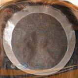 사람의 모발 브라운 색깔 가득 차있는 레이스 기초 PU 국경 Hairpiece