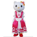 Traje rosado de la mascota del gatito del traje de Víspera de Todos los Santos hola