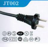Corde approuvée de courant alternatif de VDE l'Europe avec des goupilles de la prise 2 rondes (JT002)