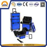 Grand cas cosmétique en aluminium professionnel de renivellement de chariot (HB-3306)
