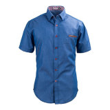 Sommer Short Sleeve Blue Denim Shirt für Young Men
